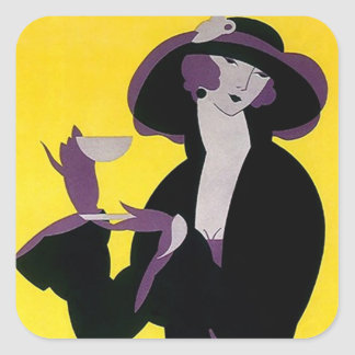 Sticker Vintage Afternoon Tea Art Deco Sharp Lady