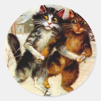 Sticker Vintage Anthropomorphic Cats Ice Skating