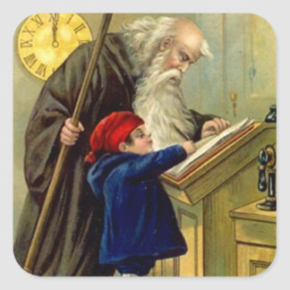 Sticker Vintage Antique New Years Father Time Baby