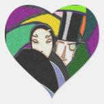 Sticker Vintage Art Deco Couple in Love Heart