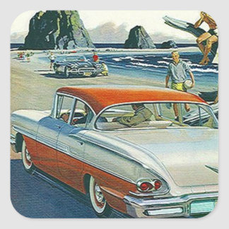 Sticker Vintage Car Auto Red White Two-tone Beach