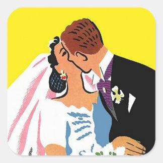 Sticker Vintage Couple Bride Groom Wedding Kiss
