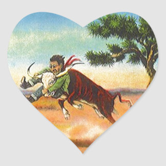 Sticker Vintage Cowboy Steer Wrangler Rodeo Heart