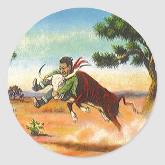 Sticker Vintage Cowboy Steer Wrangler Rodeo Sport