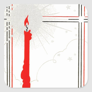 Sticker Vintage Deco Christmas Candle In Window