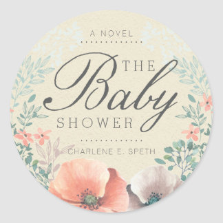 STICKER   Vintage Floral Storybook Baby Shower