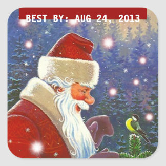 Sticker Vintage Forest Santa BEST BY Canning Gifts