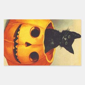 Sticker Vintage Halloween Black Kitten in JOL Cat