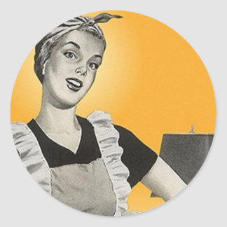 STICKER Vintage Happy Housekeeper Vacuum Circles