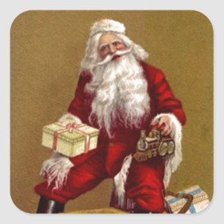 Sticker Vintage Holiday Christmas Santa hold Train