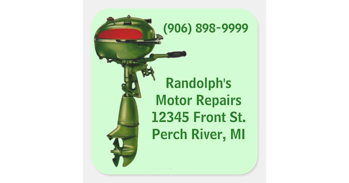 Sticker vintage outboard motor repair shop service zazzle for Outboard motor repair shop