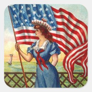 Sticker Vintage Patriotic Lady USA Old Glory Flag