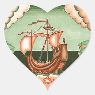Sticker Vintage Pirate Ship Sailing Sea Ocean Love