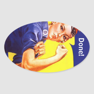 Sticker Vintage Rosie The Riveter Done! or ?text
