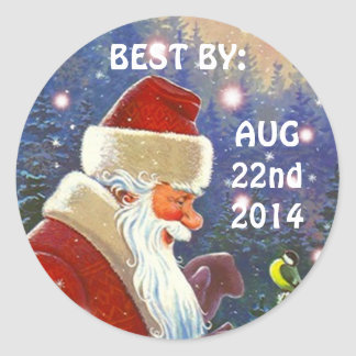 Sticker Vintage Santa BEST BY Food Canning Gifts