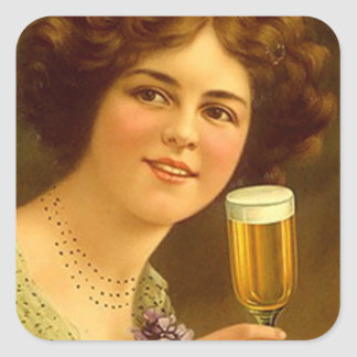 Sticker Vintage Stemware Sipping Lady Advertising