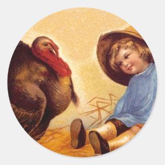 Sticker Vintage Thanksgiving Turkey In The Straw