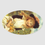 Sticker Vintage Victorian Pinafore Girl Daffodil