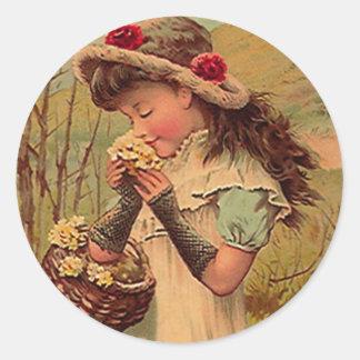 Sticker Vintage Victorian Pinafore Picking Flowers