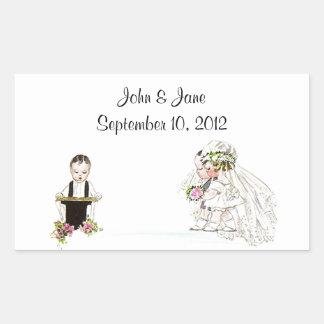 Sticker Vintage Wedding Bride Groom Church Service