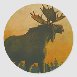 Sticker Wildlife Bull Moose @ Twilight Sundown