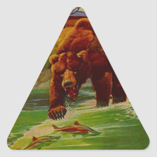 Sticker Wildlife Grizzly Stream Fishing Fish Claws