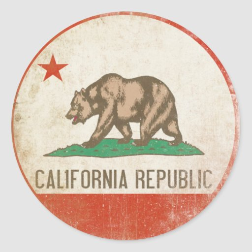 Sticker with Distressed California Republic Flag