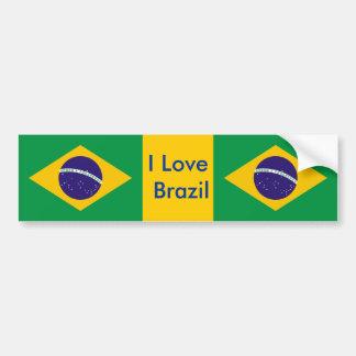 Sticker with Flag of Brazil Car Bumper Sticker