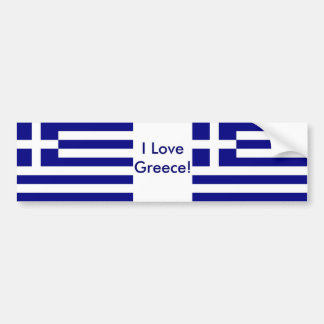 Sticker with Flag of Greece Car Bumper Sticker