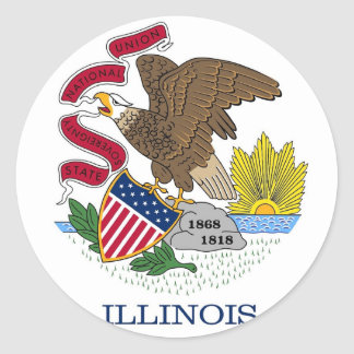 Sticker with Flag of Illinois