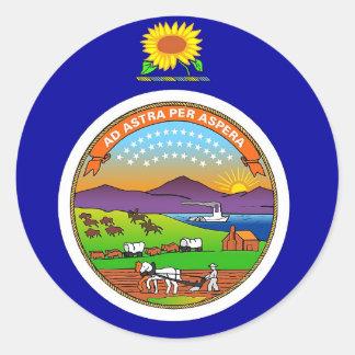 Sticker with Flag of Kansas