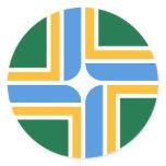 Sticker with Flag of Portland, Oregon State, USA