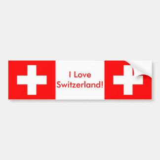 Sticker with Flag of Switzerland Bumper Stickers