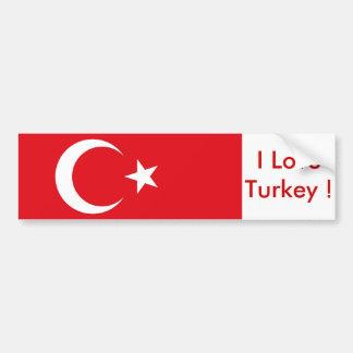 Sticker with Flag of Turkey Car Bumper Sticker