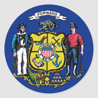 Sticker with Flag of Wisconsin
