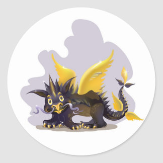 Sticker with funny black dragon picture