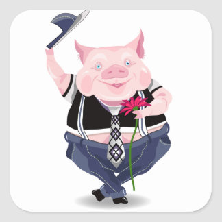 Sticker  with funny pig picture