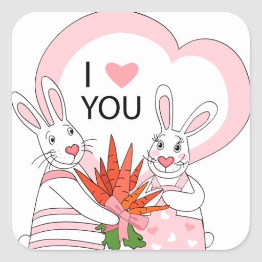 Sticker with funny rabbit couple