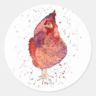 Sticker with handpainted chicken