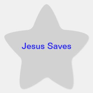 "sticker with ""Jesus Saves"""