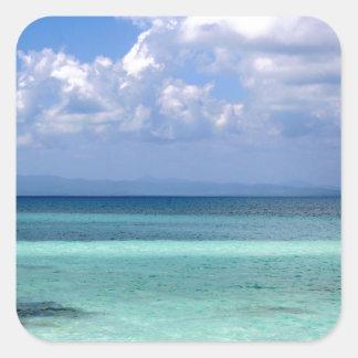 Sticker with photo of beautiful Belize coastline