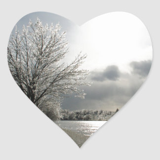 sticker with photo of icy, winter landscape