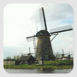 Sticker With Picture of Dutch Windmill