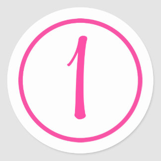Sticker with Pink Number and Border Round Sticker