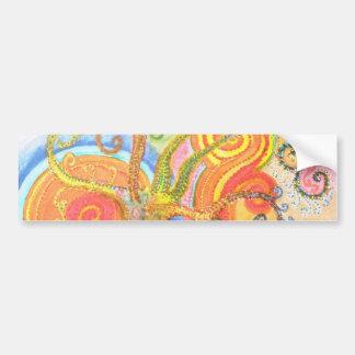 Sticker with Psychedelic Colourful Tree Design Car Bumper Sticker