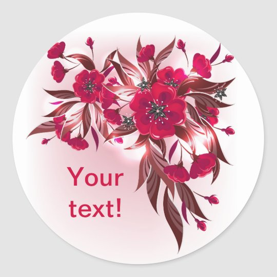 Sticker  with red flowers