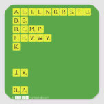 AEILNORSTU DG BCMP FHVWY K   JX  QZ  Stickers