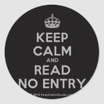 [Crown] keep calm and read no entry  Stickers