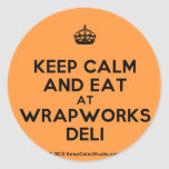 [Crown] keep calm and eat at wrapworks deli  Stickers