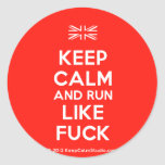 [UK Flag] keep calm and run like fuck  Stickers